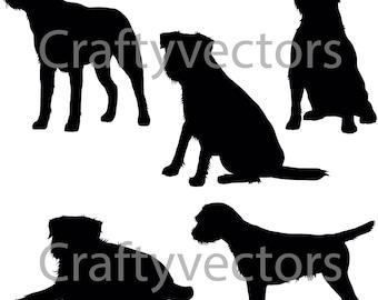 Border Terrier Dog SVG Silhouettes