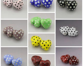 Handmade Lampwork Heart Beads Polka Dots Polka Dot Beads Glass Beads SRA Lampwork Beads Black and White Purple Yellow Green Heather Behrendt