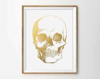 Faux Gold Foil Skull, Anatomical Poster, Human Skull Print, Medical Poster, Human Anatomy Art, Anatomical Wall Art, Modern Office Print