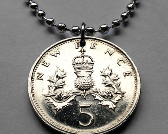 1975 to 1980 United Kingdom 5 pence coin pendant Scottish thistle Edinburgh Glasgow Gaelic Badge of Scotland British crown necklace n000235