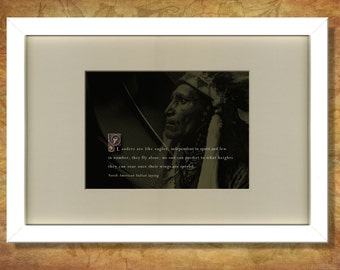 A framed print of an inspirational North American Indian saying