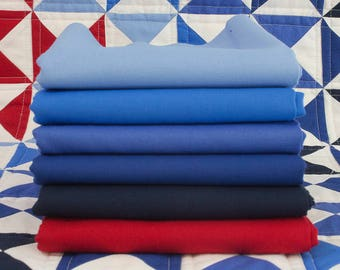 Moda Bella Solids Blue and Red Fabric Bundle
