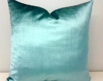 Luxury Turquoise Velvet Pillow Cover, Velvet Pillow, Turquoise Pillows, Designer Pillows, Throw Pillow, Cushion, Blue Velvet Pillow Covers