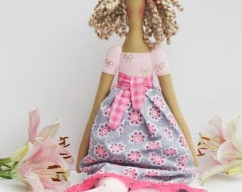 Handmade rag doll fabric doll blonde cloth doll pink and gray doll cute toy rag doll - room decor Tilda doll gift for girls