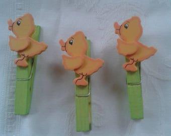 set of 6 clothespin ducks wood, embellishment, scrapbooking, name