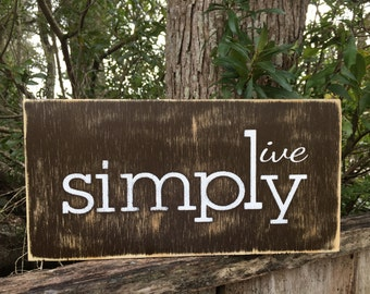 Simply, Live Simply sign,Fixer Upper Inspired Signs,12x6, Rustic Wood Signs, Farmhouse Signs, Wall Décor