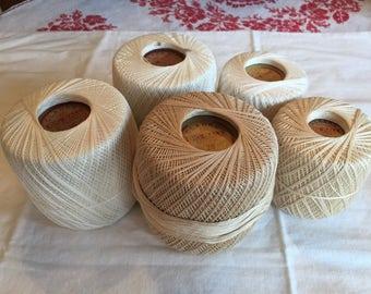 Vintage Cotton Clarks Creams and Whites Crochet Thread; 5 Balls