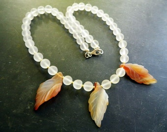 Necklace, white, bride, sheet, agate, rock crystal, beige, wedding
