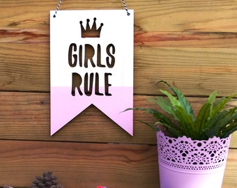 Pennant Wall Flag | nursery decor | Pennant Banner | Girl Rule Pennant | Wood penant
