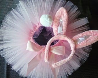 Easter Tutu, Pink Tutu, Baby Tutu, Pink Bunny Tutu, Easter Bunny Tutu Set, Light Pink Less Full Tutu Pink Bunny Ears & Tail - READY TO SHIP