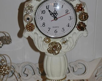 Shabby White Clock covered with Vintage Jewelry and Rhinestones
