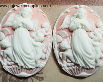 40mm x 30mm Angel cameos resin  white on pink 2 pieces lot l