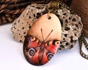 Peacock butterfly pendant. Pyrography British Wildlife inspired wooden necklace, teardrop pendant. Ideal 5 year wood anniversary gift.