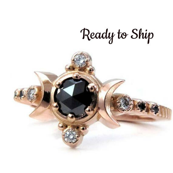 Ready to Ship - Size 6-8 - Black and White Diamond Compass Moon Engagement Ring - Rose Gold