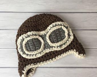 Newborn aviator hat, baby aviator hat, newborn photo prop, baby boy hat, pilot hat, crochet aviator hat, aviator goggles, aviator hat baby