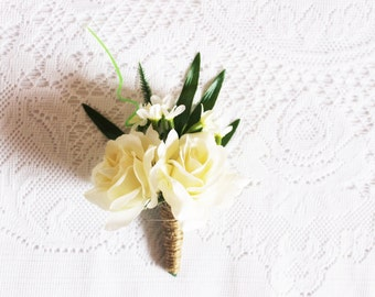 White Roses Boutonniere / flower, blossoms, nature, spring, leaves, graduation, photoshoot, party, formal, handcrafted, wedding
