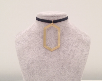 Large Geometric Hexagon Black Suede Choker