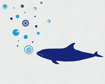 Whale Wall Decal, Whale Decal, Under the sea Decal, Whale art, Bathroom Wall Decor, Bathroom Stickers, Kids Wall Decals, Whale Sticker