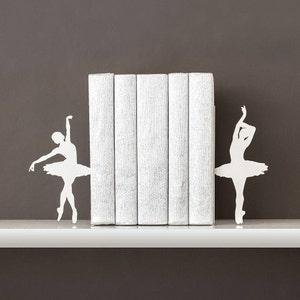 Ballerina book ends Ballet bookends Metal bookends Kids bookends White bookend Book shelf decor Book end Girl room - white