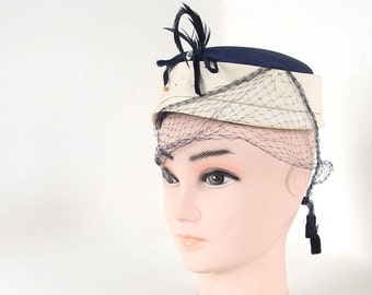 Vintage Navy Blue Pillbox Hat with Ivory Band, Veil, Feathers and Hatpin