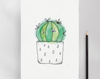 Thelocactus Cactus Illustration Art Print