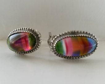 Vintage Whiting Davis variegated rainbow clip on earrings, Whiting Davis earrings, rainbow colored earrings, clip-on earrings, rainbow clips