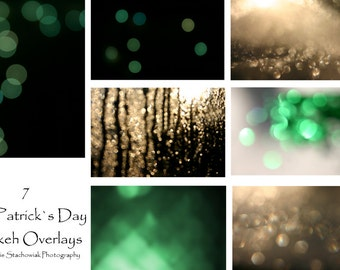 Bokeh Overlay, St. Patricks Day Overlay, Glitter Overlay, Green Overlay, Textures, Gold, Instant Download