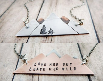 Reversible Mixed Metal Mountain Range Necklace Stamped Love Her But Leave Her Wild - Nature Jewelry