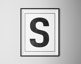 INSTANT DOWNLOAD Letter S Printable Monogram, art print 8x10