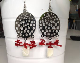 steel earrings, coral and mother-of-Pearl