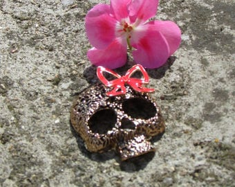 Skull pendant X 1 stylized of color bronze 60 mm approx