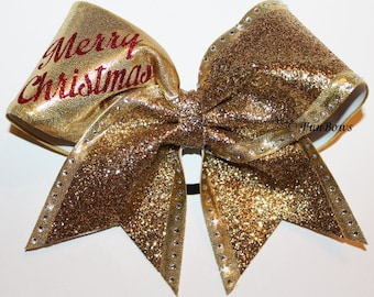 GORGEOUS Gold Glitter and Rhinestone Merry Christmas Cheer Bow by Funbows