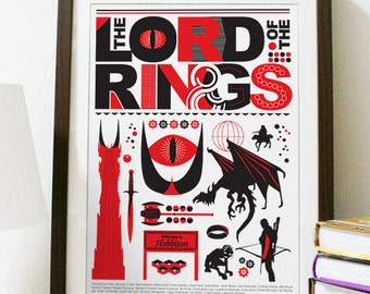 The Lord of the Rings - Red and Black Movie Poster Print