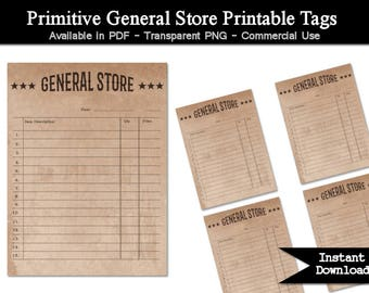 Primitive General Store Printable Tags - Commercial Use - Distressed Tea Stain Paper