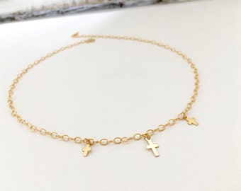 Gold Filled  Mini Cross Choker Necklace, Sterling Silver Mini Cross Choker Necklace, Rose Gold Cross Necklace, Wedding Jewelry