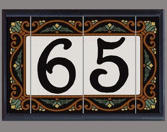 """House Number Decorative Address Tiles - Framed Set """"Las Flores"""" Design"""
