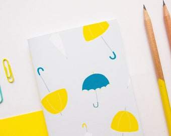 A6 Notebook / Yellow Umbrella Notebook / Cute Notebook / Pocket Notebook / Cute Stationery / Small Notebook / Gifts for Her