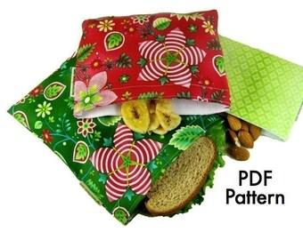 Original SnackSleeve (Digital Download) PDF Pattern- snack, sandwich, quart sizes- aGreenSleeve, snack bag, reusable bag, baggie
