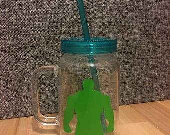 Hulk plastic jar with straw