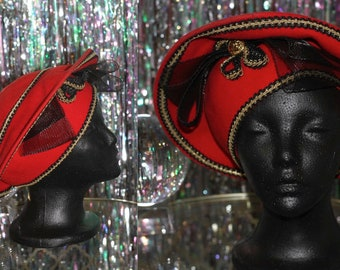 Red Decorative Wool Pill Box Hat *Excellent Condition