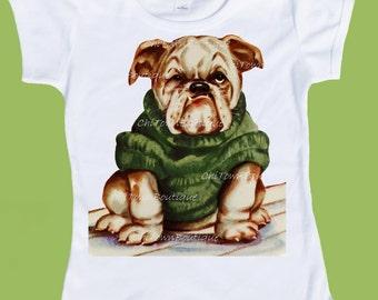 English Bulldog T-Shirt, Bulldog Puppy, Bulldog one piece, Baby Shower Gift, Boys bulldog shirt, Girls tops by ChiTownBoutique.etsy