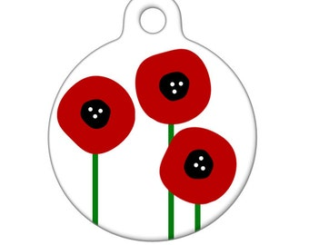Pet ID Tag - Three Little Poppies Pet Tag, Dog Tag, Cat Tag