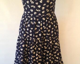 Navy and White Sundress // Print Dress // Vintage // Sleeveless // Frog Print // 1970s Dress
