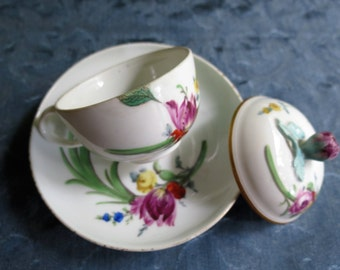 Meissen Porcelain - Rare German Covered Chocolate Cup and Saucer Set