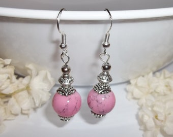 Rhodonite Style Glass Bead Earrings Pink Gray With Sterling Silver Ear Wires Dangle Gift Jewelry Marble Fashion Accessory Girl wvluckygirl