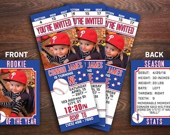 Baseball Birthday Invitation, Baseball Ticket Invitation, Baseball Card, Rookie, Baseball Theme Birthday, Custom Birthday Invitation