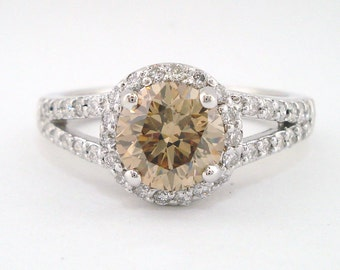 Fancy Champagne Diamond Engagement Ring, Brown Diamond Bridal Ring, Halo Wedding Ring 1.84 Carat 14k White Gold Handmade Pave Certified