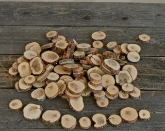 100 Wood Slices ~ 1.25 to 2 inch ~ Tree Slice Assortment ~ Summer Wedding ~ Spring Wedding ~ Confetti ~ Wood Chips ~ Tree Cookies