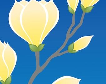 Yellow Magnolia Flower Art Print, Nature Art Spring Decor Blue Illustration Wall Art Wall Decor Home Decor Mothers Day