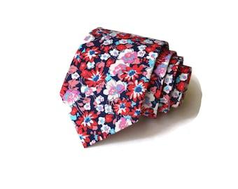 Necktie~Navy Coral~Floral Tie~Anniversary Gift~Wedding Tie~Mens Gift~Boys Necktie~Mens Necktie~Wedding~HoBo Ties~Mens Tie~Boys Tie~